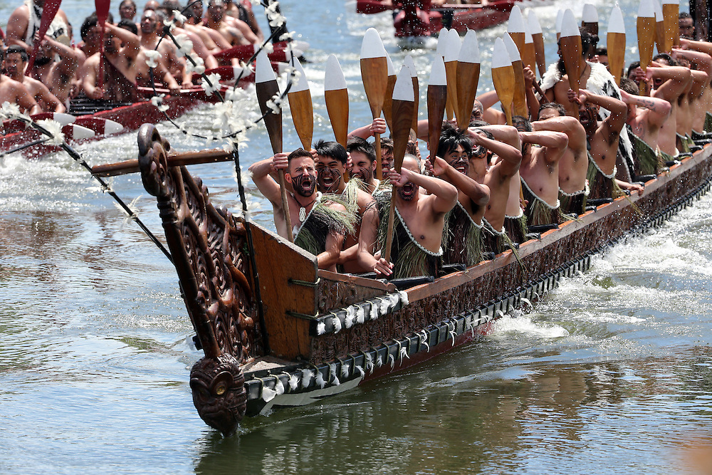 "Five waka, maori canoes salute Prince Charles, Prince of Wales and Camilla, Duchess of Cornwall receive a ""Powhiri"" maori challege on their arrival at Turangawaewae Marae, Hamilton, New Zealand, Sunday, November 08, 2015. Credit:SNPA / David Rowland **POOL**"