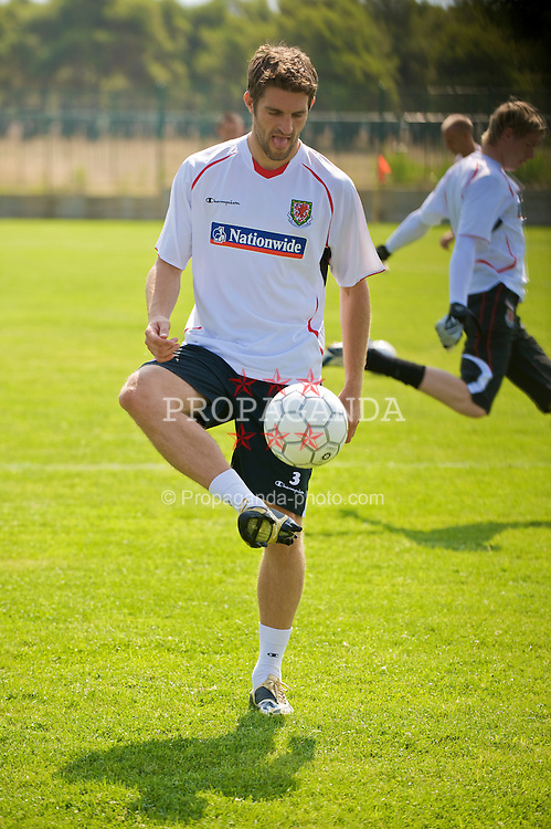 PODGORICA, MONTENEGRO - Tuesday, August 11, 2009: Wales' Sam Ricketts during a training session at the Montenegro FA Technical Centre ahead of the international friendly match against Montenegro. (Photo by David Rawcliffe/Propaganda)