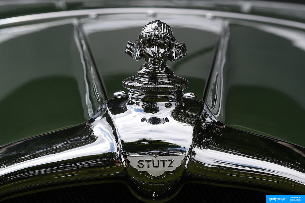 The emblem on a 1928 Stutz BB at the Greenwich Concours d'Elegance Festival of Speed and Style featuring great classic vintage cars. Roger Sherman Baldwin Park, Greenwich, Connecticut, USA.  2nd June 2012. Photo Tim Clayton