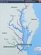 This map of the Chesapeake Bay area shows Jamestown Island and Williamsburg to be only about 8 miles apart. Working on behalf of the London entrepreneurs of The Virginia Company, Captain John Smith played a pivotal role in establishing the tiny, struggling settlement of Jamestown, the first successful English colony in North America. Using just an oversized rowboat with a single canvas sail, Captain John Smith and his crew surveyed 3000 miles of Chesapeake Bay and tributaries  in 1607-1609 while searching for food desperately needed by the colony. They thoroughly explored the area and parlayed with and sometimes battled with the Chesapeake 's diverse Native peoples. Located in James City County when it was formed in 1634 as one of the original eight shires of Virginia, Jamestown was the capital of the Colony for 83 years, from 1616 until 1698. In 1698, the capital was relocated to Middle Plantation, about 8 miles (13 km) distant, a small community which was already home to the new College of William and Mary in 1693 and was renamed Williamsburg in 1699.