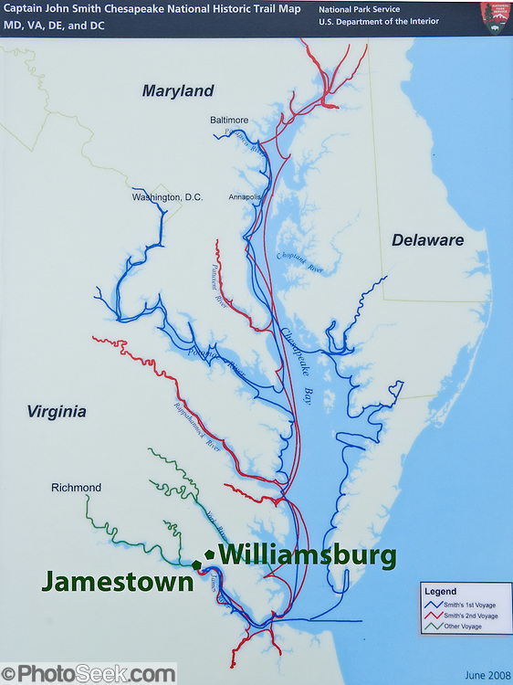 Map of Chesapeake Bay area Captain John Smiths voyages from