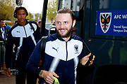 AFC Wimbledon defender Callum Kennedy (23) arrives  during the EFL Sky Bet League 1 match between Wigan Athletic and AFC Wimbledon at the DW Stadium, Wigan, England on 28 April 2018. Picture by Simon Davies.