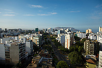 Lima, Peru- March 22, 2015: A rooftop view of Miraflores, a popular Lima neighborhood that stretches along the city's coastal bluffs. Miraflores offers miles of manicured parks along with some of the best restaurants and shopping options. CREDIT: Chris Carmichael for The New York Times