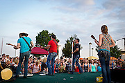 Midwest country music group Madison County plays on the roof of Monona Terrace,{irc1}.
