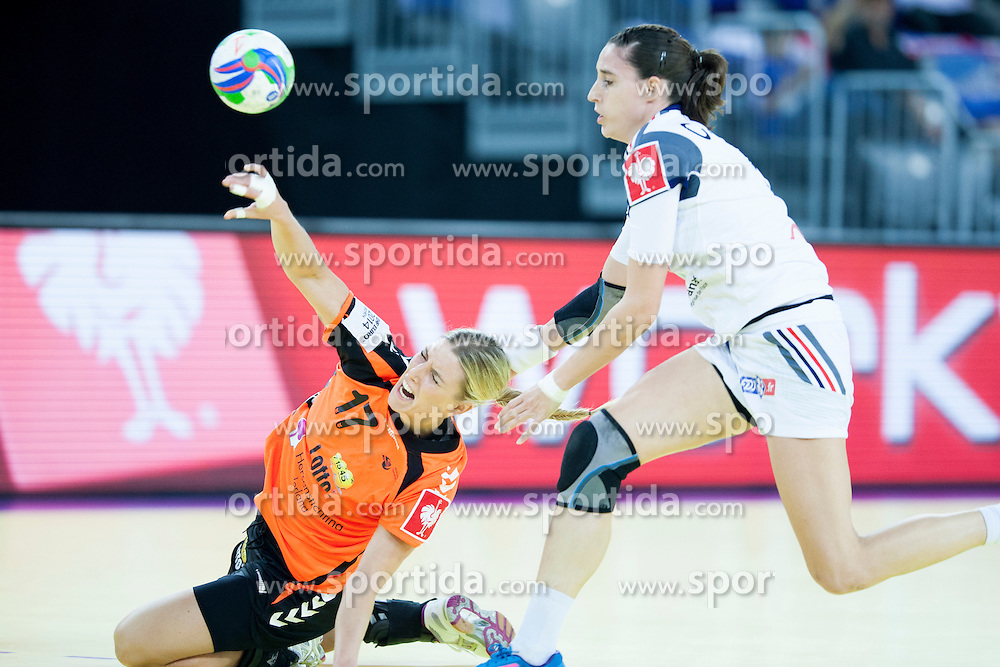 Comelia Groot #17 of Netherlands at handball match between Netherlands and France at 11th EHF European Women's Handball Championship Hungary-Croatia 2014, on December 17, 2014 in Arena Zagreb, Zagreb, Croatia. Photo By Urban Urbanc / Sportida