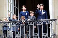 Copenhagen, 16-04-2015 <br /> <br /> Danish Royal Family at the balcony of Amalienborg Palace on the 75th birthday celebrations of Queen Margrethe of Denmark.<br /> <br /> Photo:Royalportraits Europe/Bernard Ruebsamen