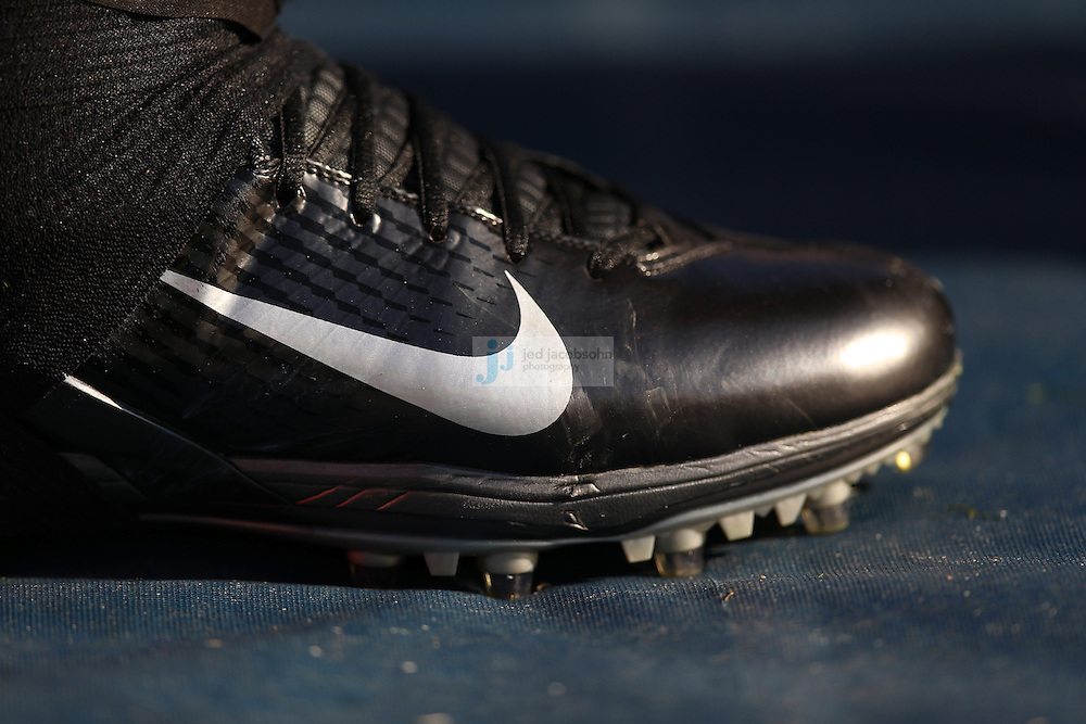 A detail of a Nike shoe of the Baltimore Ravens against the San Diego Chargers during an NFL game on Sunday, November 25, 2012 in San Diego, CA.  (Photo by Jed Jacobsohn)