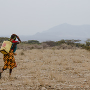 A Samburu woman carries a 20 liter jug of water to her home across the plains outside of Samburu National Reserve, Kenya.