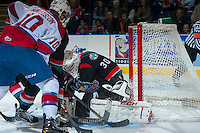 KELOWNA, CANADA - NOVEMBER 9: Jordan Cooke #30 of the Kelowna Rockets makes a save against the Edmonton Oil Kings on November 9, 2013 at Prospera Place in Kelowna, British Columbia, Canada.   (Photo by Marissa Baecker/Shoot the Breeze)  ***  Local Caption  ***
