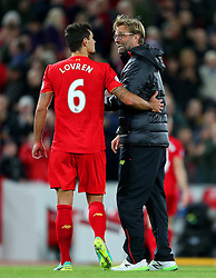 Liverpool manager Jurgen Klopp celebrates with Dejan Lovren - Mandatory by-line: Matt McNulty/JMP - 22/10/2016 - FOOTBALL - Anfield - Liverpool, England - Liverpool v West Bromwich Albion - Premier League