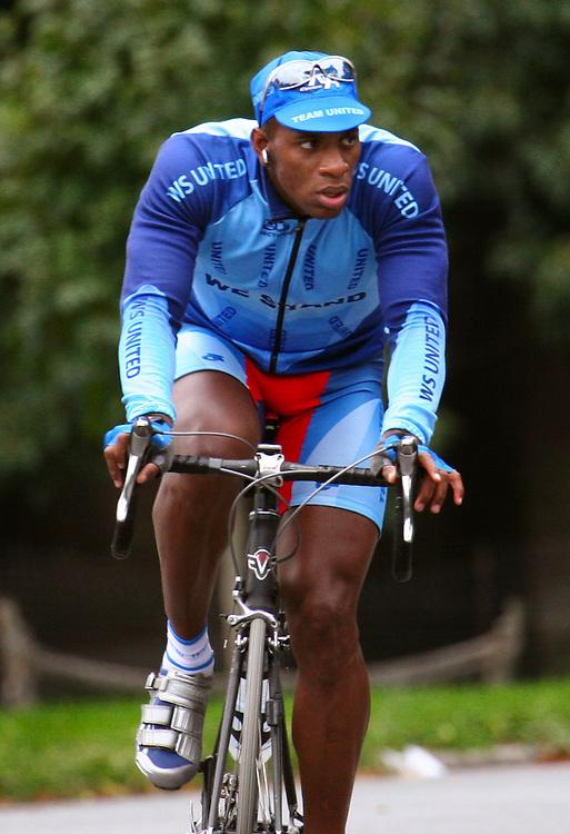 Biker in blue.