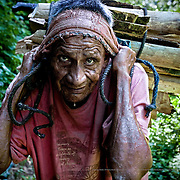 Kindling for cooking can also be extracted from the plantation. Hipólito Hernández, 73 years old, carries a bundle weighing some 40 kilos. Tuzantán, Mexico.