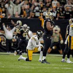 Dec 23, 2018; New Orleans, LA, USA; Pittsburgh Steelers wide receiver JuJu Smith-Schuster (19) reacts after fumbling  during the fourth quarter against the New Orleans Saints at the Mercedes-Benz Superdome. Mandatory Credit: Derick E. Hingle-USA TODAY Sports