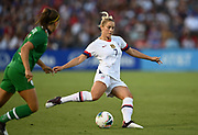 United States fender Abby Dahlkemper (7) kick sthe ball in an international friendly women's soccer match, Saturday, Aug. 3, 2019,  in Pasadena, Calif., The U.S. defeated Ireland 3-0. (Dylan Stewart/Image of Sport)