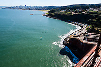 United States, California, San Francisco. Looking towards the city center from Golden Gate Bridge.