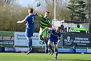 Forest Green Rovers forward Christian Doidge (9) challenges for a header 0-0 during the Vanarama National League match between Forest Green Rovers and North Ferriby United at the New Lawn, Forest Green, United Kingdom on 1 April 2017. Photo by Alan Franklin.