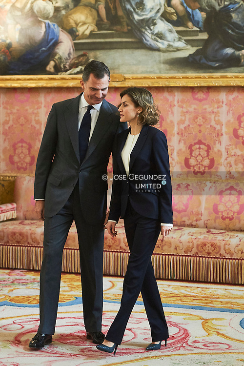 King Felipe VI of Spain, Queen Letizia of Spain attended a Meeting of the Board of the Foundation Princess of Girona at Palacio Real on December 14, 2015 in Madrid.