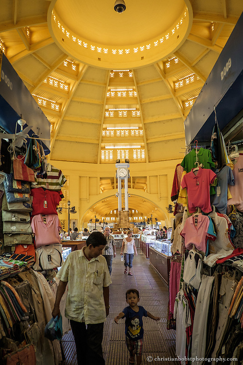 Products like watches, jewellery, electronics and clothes are sold in the main hall of the central market in Phnom Penh. The prices of the products vary, depending on the negotiating skills of the consumers.