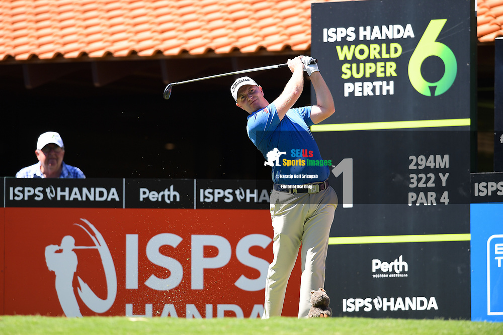 PERTH, AUSTRALIA - FEBRUARY 14: Richard McEvoy (ENG) on the 1st tee during the 1st round of the ISPS Handa World Super 6, Lake Karrinyup Country Club, Perth, Western Australia, on February 14, 2019. <br /> .<br /> .<br /> .<br /> (Photo by: Naratip Golf Srisupab/SEALs Sports Images)<br /> .<br /> Any image use must include a mandatory credit line adjacent to the content which should read: Naratip Golf Srisupab/SEALs Sports Images