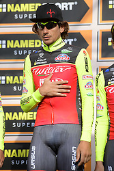 March 18, 2017 - San Remo, Italie - SANREMO, ITALY - MARCH 18 : POZZATO Filippo (ITA) Rider of Willier Triestina - Selle Italia pictured during the UCI WorldTour 108th Milan - Sanremo cycling race with start in Milan and finish at the Via Roma in Sanremo on March 18, 2017 in Sanremo, Italy, 18/03/2017  (Credit Image: © Panoramic via ZUMA Press)