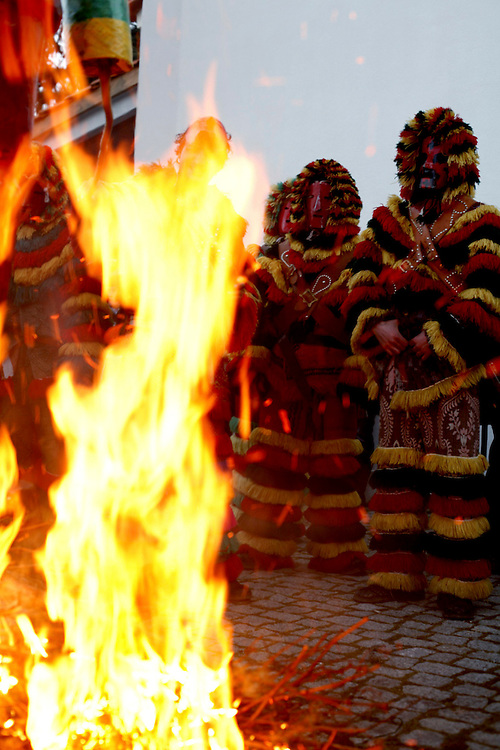 "The"" Caretos dance"" ends up the festivities of Podence Carnival. A recent introduction to the tradition, this dance is made around a burning ""Careto"" puppet."