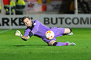 Rotherham United goalkeeper Lee Camp makes a crucial save during the Sky Bet Championship match between Bristol City and Rotherham United at Ashton Gate, Bristol, England on 5 April 2016. Photo by Graham Hunt.
