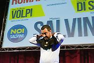 Roma, 11 Maggio 2015<br /> Comizio di Matteo Salvini, Lega Nord  al Teatro Brancaccio. Matteo Salvini mentre si infila una maglietta per i Marò<br /> Rome, May 11, 2015<br /> Rally Matteo Salvini, Northern League  at the Teatro Brancaccio. Matteo Salvini while sliding a shirt for Marò.
