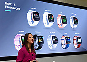 Melanie Chase, vice president of product marketing, unveils Fitbit's second smartwatch, Fitbit Versa, and first-ever device for kids, Fitbit Ace, along with the Fitbit family account and female health tracking at its launch event in New York, Monday, March 12, 2018. The newest devices and features from Fitbit support the company's vision of making the world healthier, while reaching more people in unique ways to continue to help them achieve their health and fitness goals. (Photo by Diane Bondareff/AP Images for Fitbit)