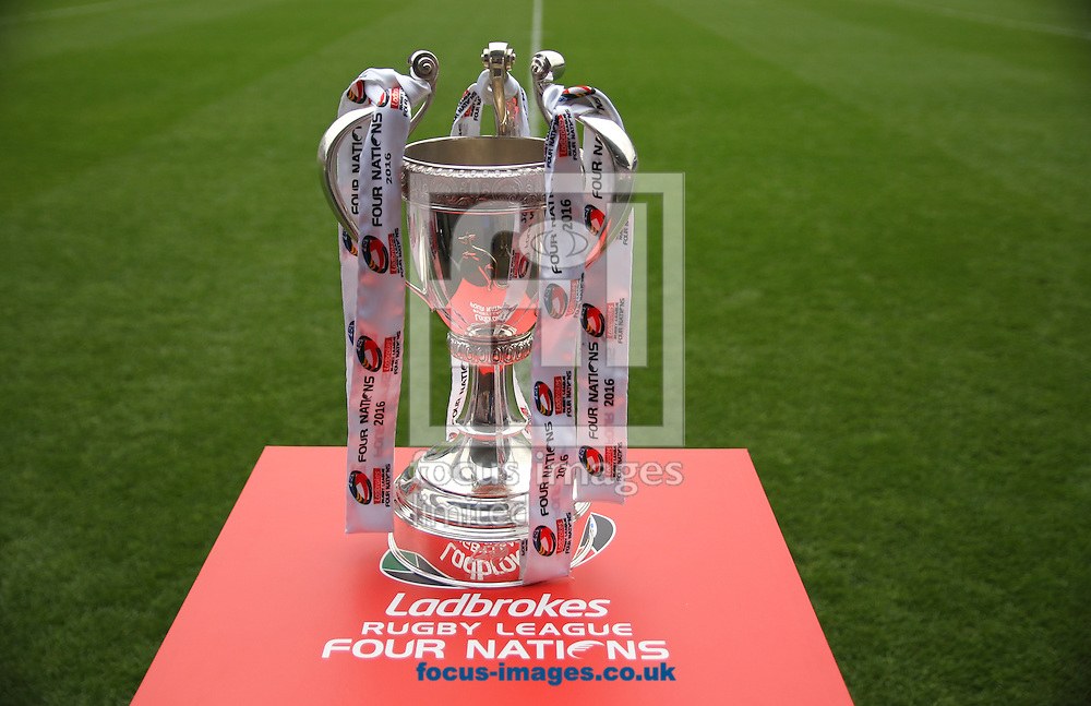 The Ladbrokes Rugby League Four Nations Trophy ahead of kickoff of England vs New Zealand during the 2016 Ladbrokes Four Nations match at the John Smiths Stadium, Huddersfield<br /> Picture by Stephen Gaunt/Focus Images Ltd +447904 833202<br /> 29/10/2016