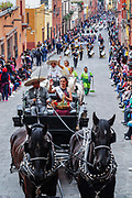Beauty queens wave to the crowd from horse carriages during a parade to celebrate the 251st birthday of the Mexican Independence hero Ignacio Allende January 21, 2020 in San Miguel de Allende, Guanajuato, Mexico. Allende, from a wealthy family in San Miguel played a major role in the independency war against Spain in 1810 and later honored by his home city by adding his name.