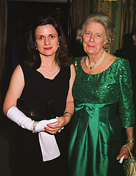 Left to right, the COUNTESS OF ST.ANDREWS and the DUCHESS OF NORFOLK at a ball in London on 9th June 1999.MTA 4