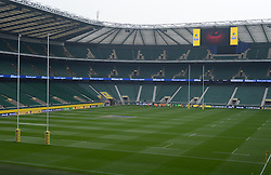 View of the pitch inside Twickenham Stadium. - Photo mandatory by-line: Alex James/JMP - 07966 386802 - 06/09/2014 - SPORT - RUGBY UNION - London, England - Twickenham Stadium - Saracens v Wasps - Aviva Premiership London Double Header.