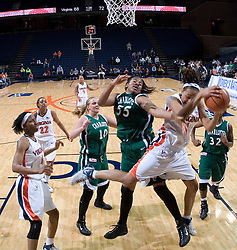 Virginia Cavaliers Forward Lyndra Littles (1) grabs a late second half offensive rebound in action against Charlotte.  The Virginia Cavaliers women's basketball team defeated The University of North Carolina - Charlotte 49ers 74-72 in the 2nd round of the Women's NIT at John Paul Jones Arena in Charlottesville, VA on March 19, 2007.