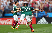 MOSCOW, RUSSIA - JUNE 17:  Javier Hernandez of Mexico celebrates after the goal during the 2018 FIFA World Cup Russia group F match between Germany and Mexico at Luzhniki Stadium on June 17, 2018 in Moscow, Russia. , <br /> Football World Cup Russia 2018 - Germany vs Mexico 0:1, <br /> Football World Cup match in MOSCOW on June 17th 2018, Fussball-WM in Moskau, Deutschland - Mexiko, <br /> Honorarpflichtiges Foto, Fee liable image, Copyright &copy; ATP Amin JAMALI