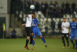 November 3, 2018 - Vercelli, Italy - Italian midfielder Nicolas Schiavi from Novara Calcio team playing during Saturday evening's match against Pro Vercelli team valid for the 10th day of the Italian Lega Pro championship and Italian midfielder Umberto Germano from Pro Vercelli team playing during Saturday evening's match against Novara Calcio valid for the 10th day of the Italian Lega Pro championship  (Credit Image: © Andrea Diodato/NurPhoto via ZUMA Press)