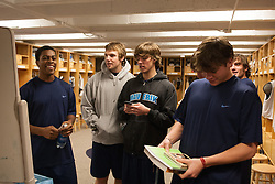 27 November 2007: North Carolina Tar Heels men's lacrosse Milton Lyles, Emmit Kellar, Billy Bitter and Kevin Piegare after a weight lifting session in Chapel Hill, NC.