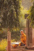 A Buddhist monk chants at the Mahabodhi Temple, the site of the Buddha's enlightenment, in Bodhgaya India.