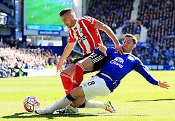 Everton's Bryan Oviedo tackles Dusan Tadic of Southampton - Mandatory by-line: Matt McNulty/JMP - 16/04/2016 - FOOTBALL - Goodison Park - Liverpool, England - Everton v Southampton - Barclays Premier League