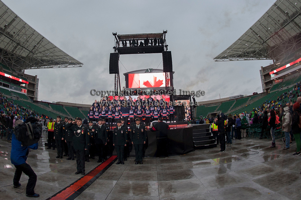 REGINA, SK - MAY 17: The MasterCard Memorial Cup opening ceremonies at Mosaic Stadium on May 17, 2018 in Regina, Canada. (Photo by Marissa Baecker/Shoot the Breeze)