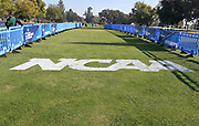 Nov 9, 2018; Sacramento, CA, USA; General overall view of the NCAA logo at the finish line during the NCAA West Regional at Haggin Oaks Golf Course.