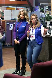 """Jennifer Lopez and BFF Leah Remini filming scenes for upcoming movie """"SECOND ACT"""" where they play supermarket workers in Astoria, Queens. 24 Oct 2017 Pictured: Jennifer Lopez and Leah Remini. Photo credit: LRNYC / MEGA TheMegaAgency.com +1 888 505 6342"""