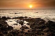 Water pool formed at low tide in Isla Pacheca shore. Las Perlas Archipelago, Panama Province, Panama, Central America.