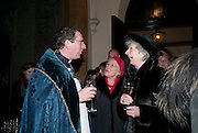 REV. RICHARD COLES; FRANCES ARKLE; JOAN D'OLIEN, Reception after Christmas Carol Service in aid of the Haven, Breast Cancer Support Centres. St. Paul's, Knightsbridge. London. 9 December 2010.  -DO NOT ARCHIVE-© Copyright Photograph by Dafydd Jones. 248 Clapham Rd. London SW9 0PZ. Tel 0207 820 0771. www.dafjones.com.