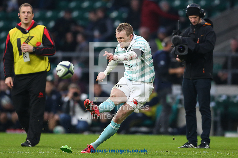 Fraser Gillies of Cambridge University kicks a penalty during The Varsity Match at Twickenham Stadium, Twickenham<br /> Picture by Mark Chappell/Focus Images Ltd +44 77927 63340<br /> 08/12/2016