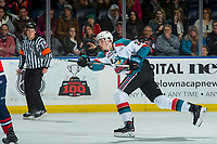 KELOWNA, CANADA - JANUARY 17: Braydyn Chizen #22 of the Kelowna Rockets takes a shot against the Lethbridge Hurricanes on January 17, 2018 at Prospera Place in Kelowna, British Columbia, Canada.  (Photo by Marissa Baecker/Shoot the Breeze)  *** Local Caption ***