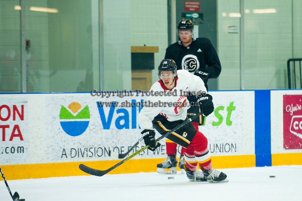 PENTICTON, CANADA - SEPTEMBER 8: Spencer Foo #15 of Calgary Flames skates during morning practice on September 8, 2017 at the South Okanagan Event Centre in Penticton, British Columbia, Canada.  (Photo by Marissa Baecker/Shoot the Breeze)  *** Local Caption ***