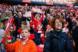 Bristol City fans celebrate their sides second goal - Photo mandatory by-line: Rogan Thomson/JMP - 07966 386802 - 22/03/2015 - SPORT - FOOTBALL - London, England - Wembley Stadium - Bristol City v Walsall - Johnstone's Paint Trophy Final.