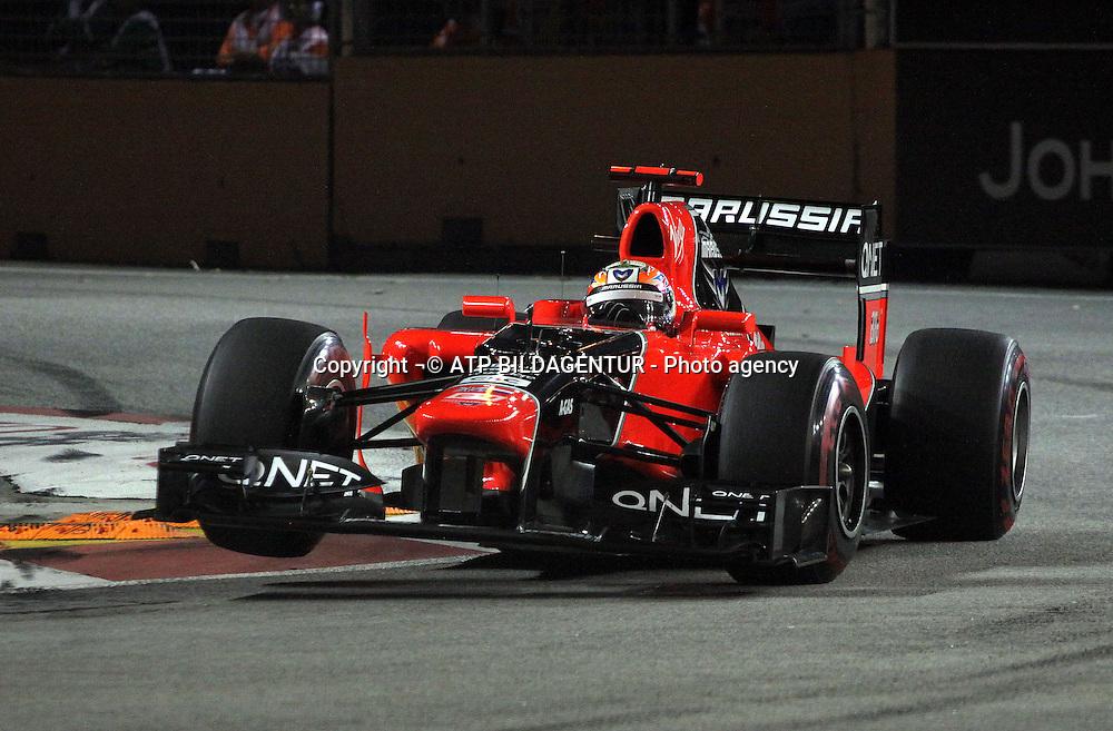 formula 1 GP, Singapore, 21.09.2012, Timo Glock, Marussia F1 Team, <br /> Formula One GP Singapore,  - Asia - night race - SINGAPUR - ASIEN - Formel 1 Nachtrennen - Foto: &not;&copy;  ATP Thomas Melzer