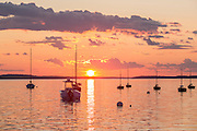 Center Harbor, Maine - 9 August 2014. Sunset, looking out of the harbor.