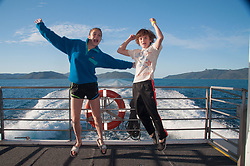 Max and Eliza Coming Back from the Great Barrier Reef, Whitsunday islands,  Queensland, Australia